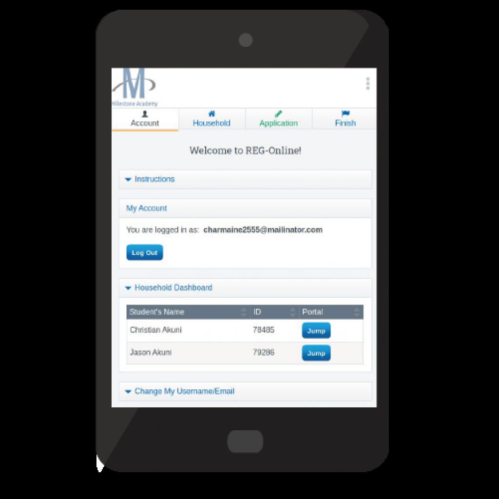 student registration system form